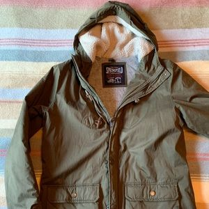 Worn Long Mens Hooded Winter Jacket